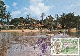 D38778 CARTE MAXIMUM CARD 1975 GABON - HOPITAL DE LAMBARENE ALBERT SCHWEITZER NOBEL PRIZE CP ORIGINAL - Geneeskunde