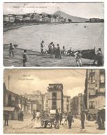 NAPOLI 2 Cartoline Animate Pzza Mercato E Via Caracciolo Con Pescatori 1907/13 - Napoli