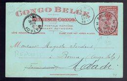 CP Stibbe 41 Palmier 10c Rouge !!!! REPONSE !!!! Brussel 2 Le 6 IV 1911 => Boma ( Faire Suivre ) => Matadi - Entiers Postaux