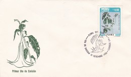 FLORA DEL PERU, DATURA CANDIDA SAFFORD. FLORE FLEUR FLOWER. PERU 1986 FDC SOBRE PRIMER DIA DE EMISION  -LILHU - Vegetales