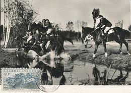 D38788 CARTE MAXIMUM CARD 1956 CZECHOSLOVAKIA - STEEPLE CHASE HORSES CP ORIGINAL - Paardensport