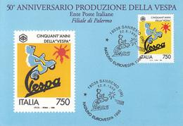 TRANSPORT, MOTORBIKES, VESPA SCOOTER, MAXIMUM CARD, 1996, ITALY - Motorfietsen