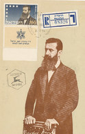 D38789 CARTE MAXIMUM CARD 1954 ISRAEL - THEODOR HERZL CP ORIGINAL REGISTERED HERZLIYA - Maximumkaarten
