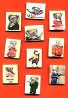 Série Complete De 10 Feves Faience Babar - Dautrey 1991 - Dibujos Animados