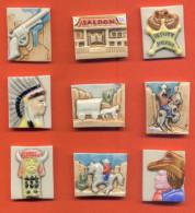 Lot De 9 Feves Porcelaine De La Serie Du Far West - Anciennes
