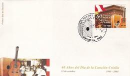 60 AÑOS DEL DIA DE LA CANCION CRIOLLA 1944 - 2004. PERU FDC SOBRE PRIMER DIA DE EMISION  -LILHU - Música
