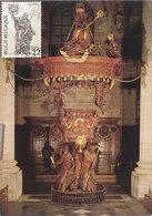 D38792 CARTE MAXIMUM CARD 1985 BELGIUM - WOODEN SCULPTURE ST. NORBERT - GRIMBERGEN CP ORIGINAL - Beeldhouwkunst