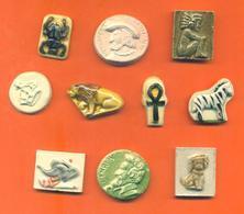 Lot De 10 Feves Faience Dautrey Diverses - Rois - Egypte - Babar - Maya - Lion - Zèbre .... - Anciennes