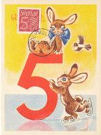 D38793 CARTE MAXIMUM CARD 1960 SWEDEN - NUMERAL 5 ON COMICAL CARD CP ORIGINAL - NO LINING - Maximumkaarten (CM)