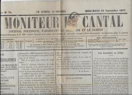 1877 - CANTAL - 2c SAGE Sur JOURNAL COMPLET POLITIQUE LE MONITEUR Du CANTAL à AURILLAC - Marcophilie (Lettres)