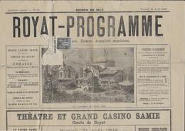1892 - PUY DE DOME - 1c SAGE Sur JOURNAL COMPLET ROYAT PROGRAMME - Marcophilie (Lettres)