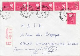 Env Reco Affr Y&T 1664 X 7 Obl STRASBOURG PLACE DE LA GARE Du 13.7.1974 Adressée à Strasbourg - Elsass-Lothringen
