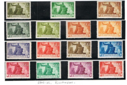 UNGHERIA (HUNGARY)  -  SG  863.877   -  1945  RECONSTRUCTION  (COMPLET SET OF 15) -  MINT** - RIF. CP - Nuovi