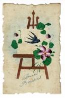 """Carte Peinte à La Main """"Bonne Année"""" Chevalet De Peintre Avec Dessin D'une Hirondelle, Fleurs - Pas Circulé - Fêtes - Voeux"""