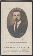 Souvenir Mortuaire : Lucien Billaux Né à Bouillon En 1898 Et Y Est Décédé En 1921 - Overlijden