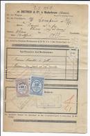 1873 - FISCAUX /FORMULAIRE De FRET Des CHEMINS De FER ALLEMANDS En ALSACE MOSELLE De DE DIETRICH à NIEDERBRONN => THIERS - Alsace Lorraine