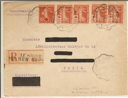 """L Avec N° 146 Et N° 147 X 4 Oblitéré CàD Télégraphique """"LE HAVRE CENTRAL"""" 23/10/1914 - 1877-1920: Période Semi Moderne"""