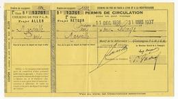 FRANCE - Chemins De Fer P.L.M. - Permis De Circulation Un Seul Voyage 1937 - 1ere Classe 1 Personne - Marseille Paris - Europa