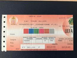 Ticket Billet Match Football Monaco Saint Johnstone UEFA CUP 1999 - Tickets D'entrée