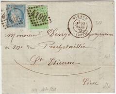 VRAI N° 35 Et 37 Obl GC Lettre De VIENNE Isere 1872 , TTB+++++ - Marcophilie (Lettres)