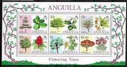 Anguilla 252a Trees Flowering Flowers Flora MNH Souvenir Sheet Block Minor Crinkle LR 1976 A04s - Anguilla (1968-...)