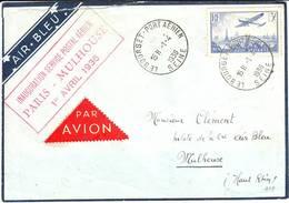 PREMIER VOL Paris Mulhouse Par AIR BLEU 1936 , TTB Lettre - Marcophilie (Lettres)