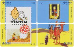 CHINA D-912 Prepaid ChinaUnicom - Comics, Tintin (puzzle) - 4 Pieces - Used - Cina