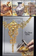 Malaysia - 2019 - Arts And Crafts In Malaysia - Mint Stamp Set + Souvenir Sheet With Embossing And Varnish - Malaysia (1964-...)