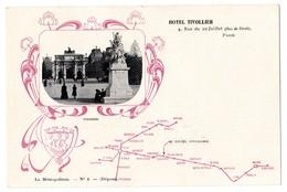 CPA PARIS 1e Plan Du Métro GUIMARD Le Métropolitain N°6 Pub HOTEL TIVOLLIER 4 Rue Du 29 Juillet Rue De Rivoli Paris - Distretto: 01