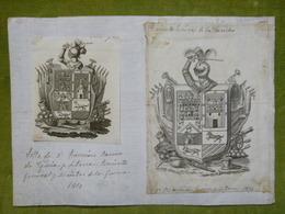 2 Ex-libris Héraldiques - ESPAGNE - FRANCISO RAMON DE EGUIA Y LETONA - 1810 - Ex-libris