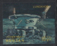 Bhutan, 1971 (#434c), Man's Conquest Of Space, Russian Lunokhod On Moon, Soviet Union, 3D Stamp - 1v Single - Ruimtevaart