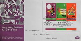 Lettre  Officielle FDC. - HONG KONG FESTIVAL 1975  Bloc N°B2 Oblitéré - Daté Hong Kong 31.7.1975 - En TBE - Hong Kong (...-1997)