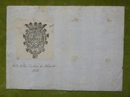 Ex-libris Ou Illustration Héraldique - ESPAGNE - ALICANTE - 1812 - Ex-libris