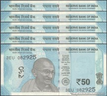TWN - INDIA 111f - 50 Rupees 2018 DEALERS LOT X 5 - Inset Letter R - Series 3EU - Signature: Patel UNC - India