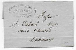 1849 - POSTE PRIVEE -  LETTRE De NANTES DISTRI Par MAISON AMIC ESTAFETTE De COMMERCE DISTRIBUTIONS IMPRIMES à BORDEAUX ! - 1849-1876: Periodo Clásico