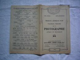 Plaquette Pub 1912 Produits Chimiques Fourniture Pour Photographie Brunet Laborde & Galais - Publicités