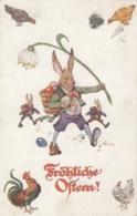 AK - FRÖHLICHE OSTERN - Osterhasen Tragen Die Eier Aus 1920 - Ostern