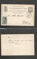 BELGIAN CONGO. 1895 (5 June) Boma - Montenegro, Cettinje Via Anvers (17 July) 5c Brown Half Way Out Usage + 10c Blue Gre - Congo Belge