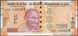 TWN - INDIA 113f - 200 Rupees 2018 Inset Letter E - Series 7GE - Signature: Patel UNC - India