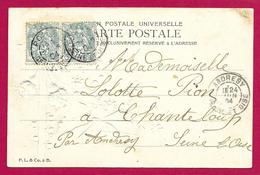 Écrit Postal Daté De 1904 - Voyagé à Destination De La Commune De Chanteloup Par Andrésy En Seine Et Oise - Marcophilie (Lettres)