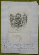 Ex-libris Ou Illustration Héraldique Avec Signature - ESPAGNE - MONFORTE - 1808 - Ex-libris