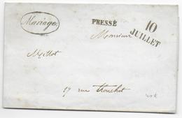 """1849 - POSTE PRIVEE - MARQUES """"MARIAGE"""" """"PRESSE"""" Sur LETTRE DISTRIBUEE Par AGENCE BONNARD CAMPMAS à PARIS - 1849-1876: Période Classique"""