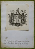 Ex-libris Ou Illustration Héraldique Avec Signature - ESPAGNE - FRANCISCO XAVIER DE ASPIROR Y JALON - 1843 - Ex-libris