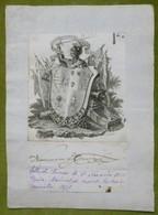 Ex-libris Ou Illustration Héraldique Avec Signature - ESPAGNE - NARAVIO DE EGUIA - 1826 - Ex-libris