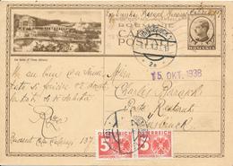 BUCAREST - 1936 , BPK Nach Innsbruck  Mit Nachporto - Vertikale Falte - Postal Stationery