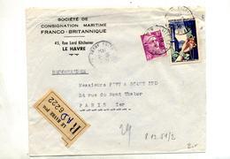 Lettre Recommandée Le Havre Sur Bijoux Gandon - Marcophilie (Lettres)