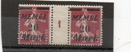 FRANCE   2 Timbres  20 C Surcharge  20 Mark  Memel  Millésime 1921 Type Semeuse  Neufs Avec Charnière - Memel (1920-1924)