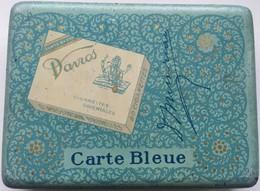 RARE Boite Métal Cigarettes Davros Carte Bleue Missirian 1920s - Cajas Para Tabaco (vacios)