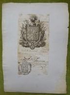 Ex-libris Ou Illustration Héraldique Signé - ESPAGNE - Gouverneur Militaire De SEVILLE - 1826 - Ex-libris