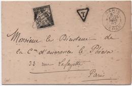Lettre Non Affranchie Cachet Paris Départ Section De Levée 1887 Taxe 30c Noir Banderole Duval Grand Triangle - Segnatasse